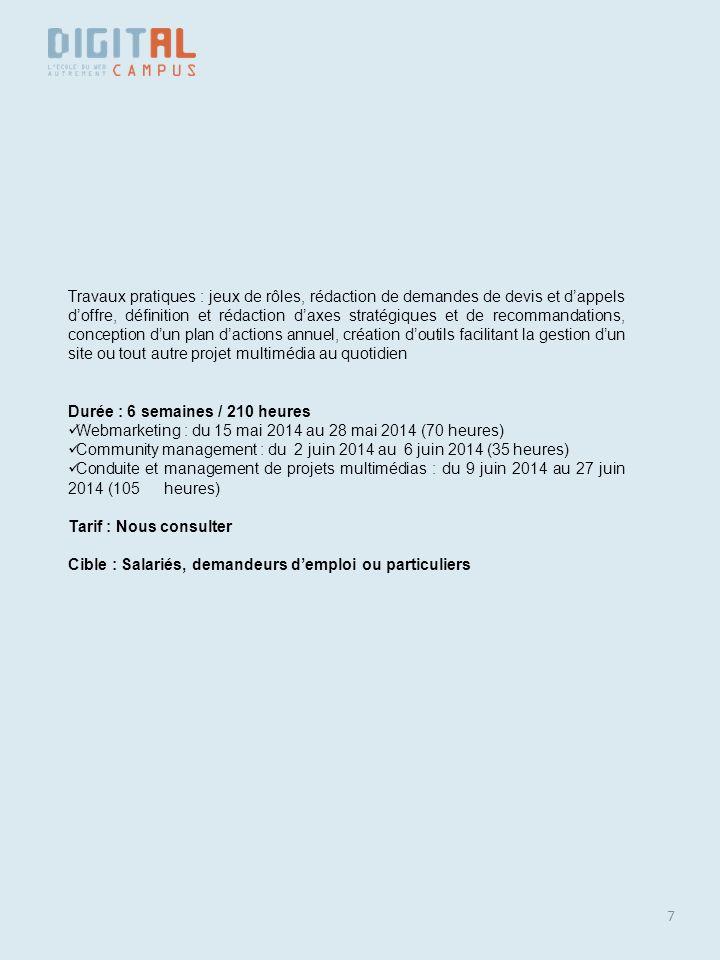 7 Travaux pratiques : jeux de rôles, rédaction de demandes de devis et dappels doffre, définition et rédaction daxes stratégiques et de recommandation