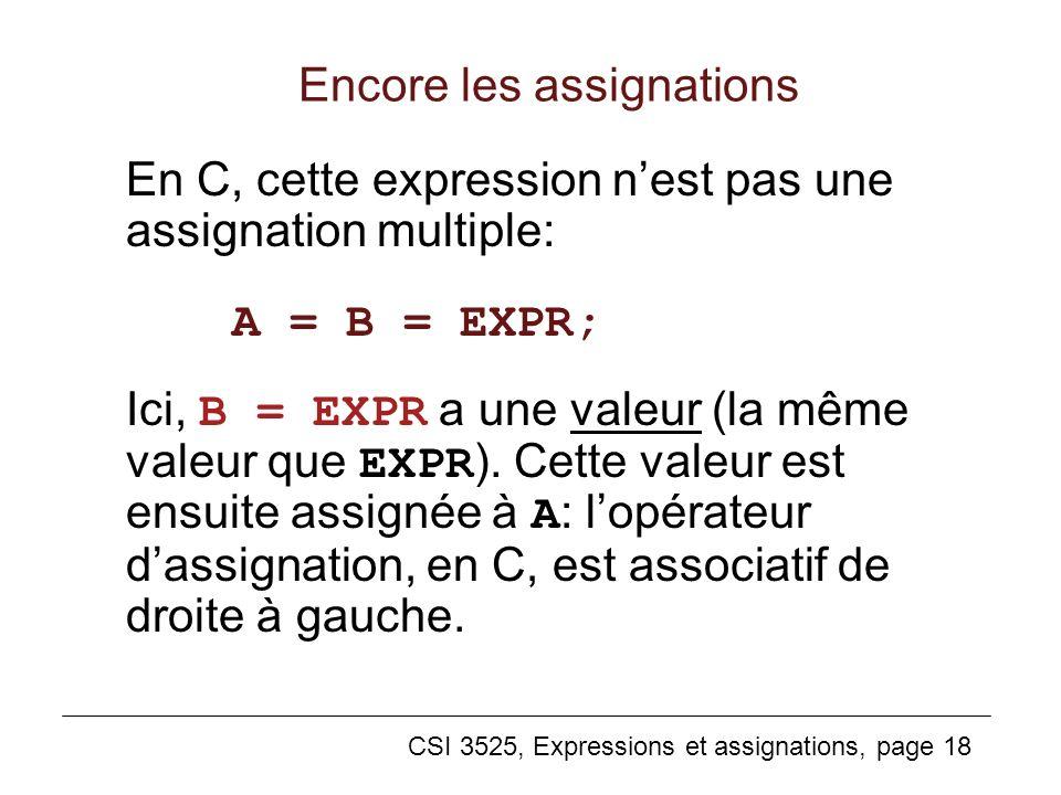 CSI 3525, Expressions et assignations, page 18 En C, cette expression nest pas une assignation multiple: A = B = EXPR; Ici, B = EXPR a une valeur (la