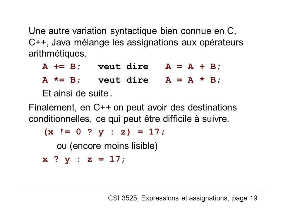 CSI 3525, Expressions et assignations, page 19 Une autre variation syntactique bien connue en C, C++, Java mélange les assignations aux opérateurs ari