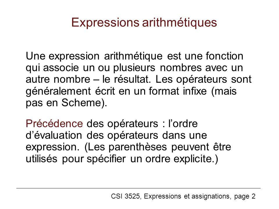 CSI 3525, Expressions et assignations, page 2 Expressions arithmétiques Une expression arithmétique est une fonction qui associe un ou plusieurs nombr