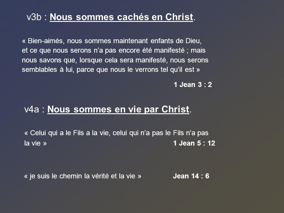 v3b : Nous sommes cachés en Christ. « Bien-aimés, nous sommes maintenant enfants de Dieu, et ce que nous serons na pas encore été manifesté ; mais nou