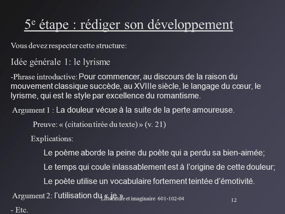 """Pr�sentation """"Litt�rature et imaginaire 601-102-04 La dissertation ..."""