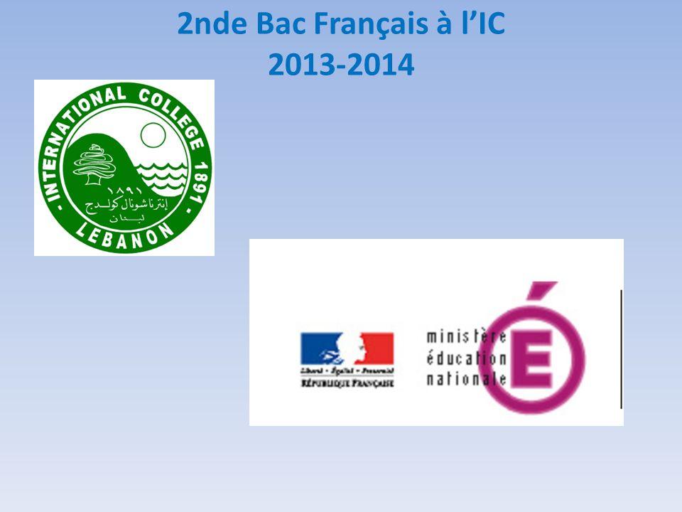 2nde Bac Français à lIC 2013-2014