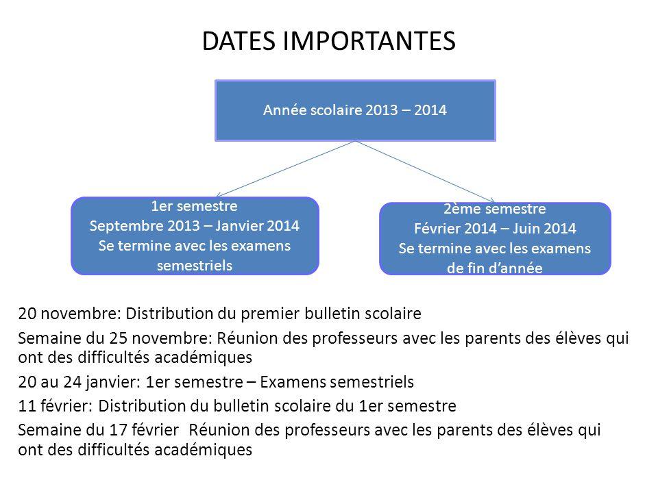 DATES IMPORTANTES 20 novembre: Distribution du premier bulletin scolaire Semaine du 25 novembre: Réunion des professeurs avec les parents des élèves q