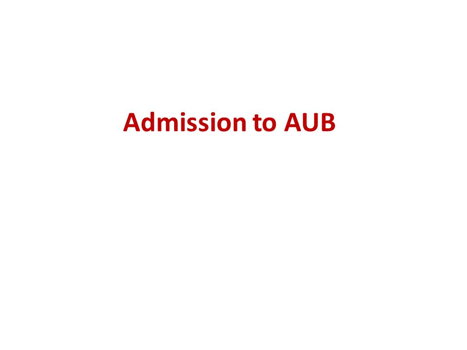 Admission to AUB