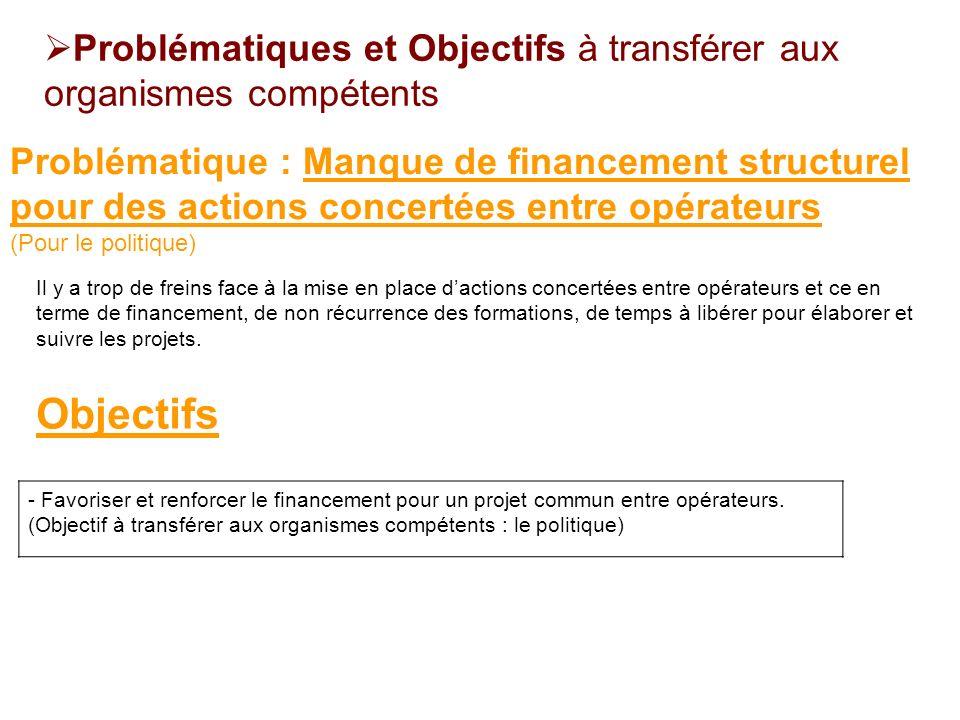 - Favoriser et renforcer le financement pour un projet commun entre opérateurs. (Objectif à transférer aux organismes compétents : le politique) Probl