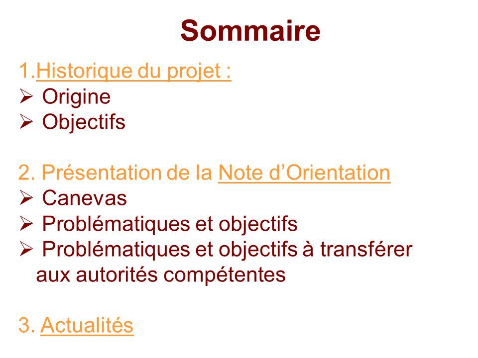 1.Historique du projet : Origine Objectifs 2. Présentation de la Note dOrientation Canevas Problématiques et objectifs Problématiques et objectifs à t
