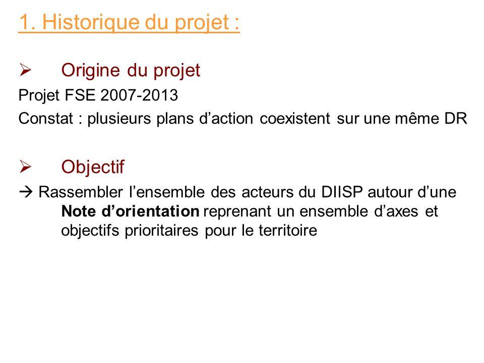 Origine du projet Projet FSE 2007-2013 Constat : plusieurs plans daction coexistent sur une même DR Objectif Rassembler lensemble des acteurs du DIISP