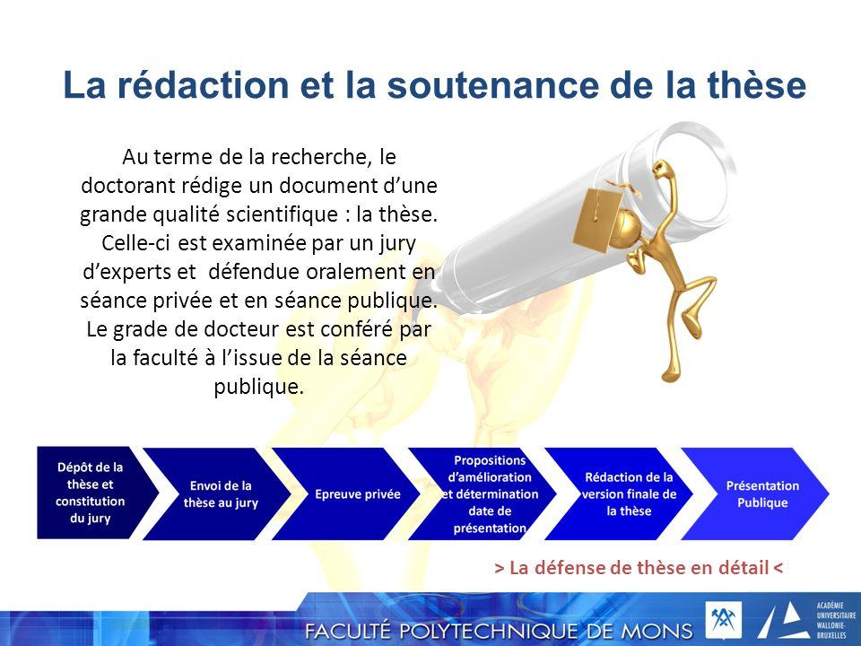 La rédaction et la soutenance de la thèse Au terme de la recherche, le doctorant rédige un document dune grande qualité scientifique : la thèse. Celle