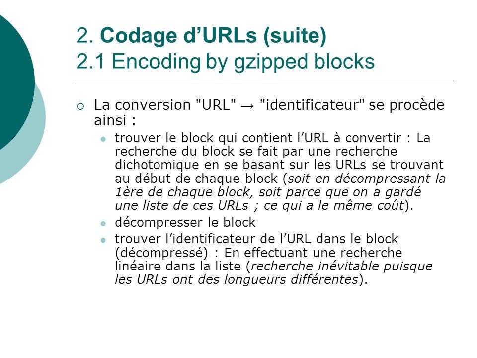 2. Codage dURLs (suite) 2.1 Encoding by gzipped blocks La conversion