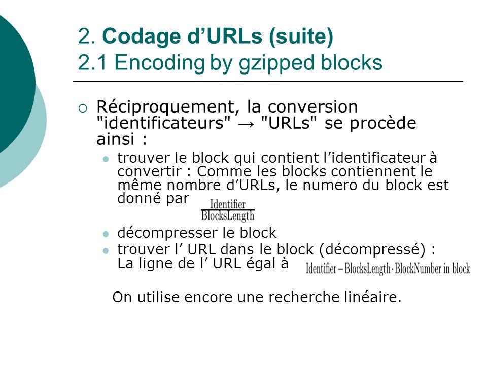 2. Codage dURLs (suite) 2.1 Encoding by gzipped blocks Réciproquement, la conversion