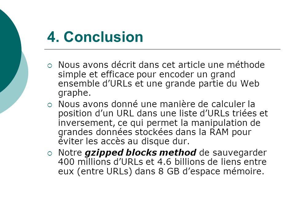 4. Conclusion Nous avons décrit dans cet article une méthode simple et efficace pour encoder un grand ensemble dURLs et une grande partie du Web graph