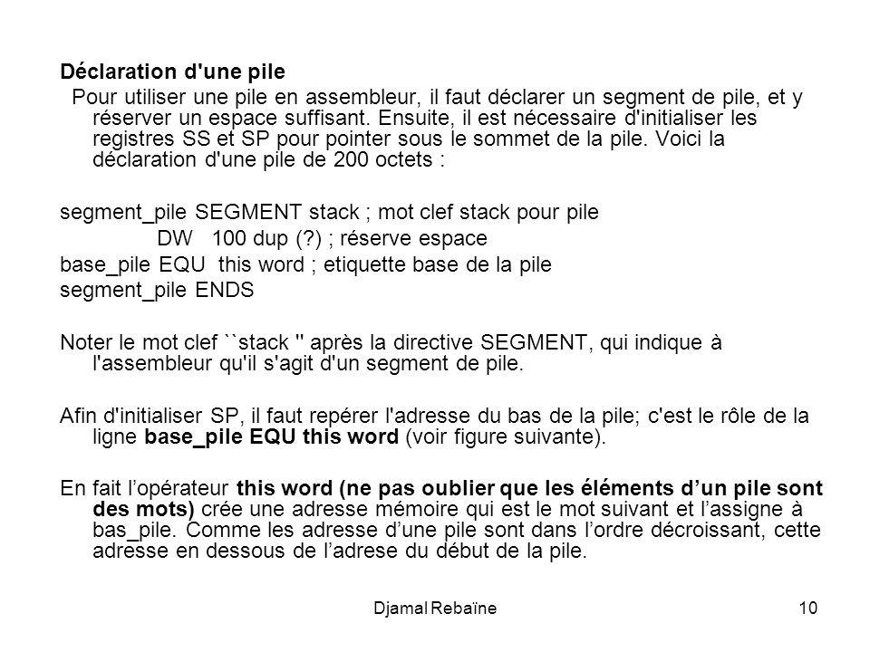 Autrement dit, la déclaration suivante: First-byte equ this byte Word table dw 100 dup(?) permet dassigner un nom au premier octet de ladresse de word-table.