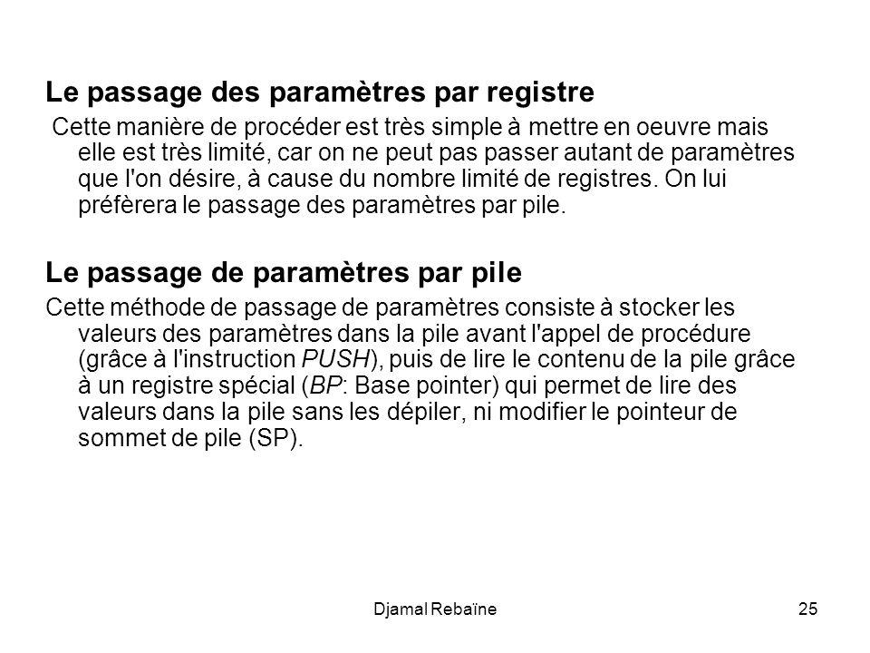 Djamal Rebaïne26 L appel de la procédure se fera comme suit: PUSH parametre1 ; où parametre1 correspond à une valeur ou une adresse PUSH parametre2 ; où parametre1 correspond à une valeur ou une adresse CALL procedure La procédure commencera par l instruction suivante: MOV BP, SP ;permet de faire pointer BP sur le sommet de la pile Puis pourra contenir des instructions du type: MOV AX, [BP] ;Stocke la valeur contenue dans le sommet de ;la pile dans AX, sans dépiler MOV BX, [BP+2] ;Stocke la valeur contenue dans le mot suivant de la ;pile dans BX (un mot fait 2 octets), sans dépiler