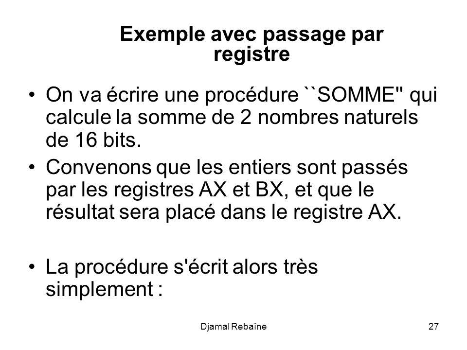 Djamal Rebaïne28 SOMME PROC near ; AX <- AX + BX ADD AX, BX RET SOMME ENDP et son appel, par exemple pour ajouter 6 à la variable Truc : MOV AX, 6 MOV BX, Truc CALL SOMME MOV Truc, AX