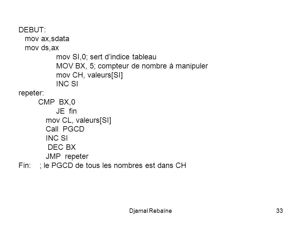 Djamal Rebaïne34 xor ax,ax ; tout ce qui suit sert à afficher les chiffres contenus dans le PGCD qui est dans CH mov al,ch mov si, offset tab_conv mov start, offset tab_conv ;start sert à garder le début du tableau mov bx,0 mov bl,10 division: ; on suppose que la division se fait sur des nombre de 16 bits div bl cmp al,0 je fin_div add ah,48 mov byte ptr[si],ah mov ah,0 inc si jmp division fin_div: add ah,48 mov byte ptr[si],ah ; tab_conv contient le nombre converti à lenvers xor bx,bx mov bx, offset tab_sortie xor ax,ax