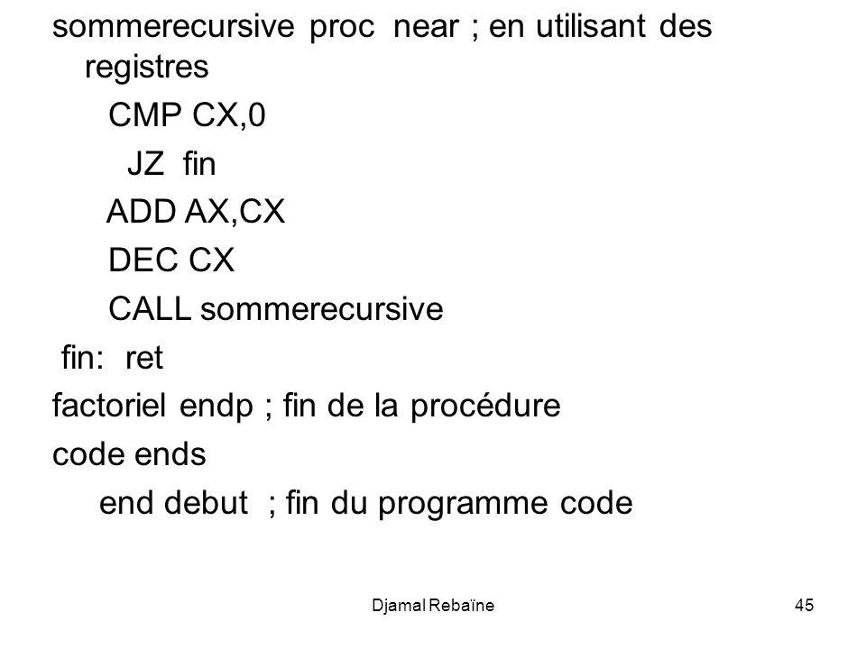 Djamal Rebaïne46 Les nombres de Fibonacci Question: Écrire un programme qui calcule le nombre de Fibonacci défini comme suit:
