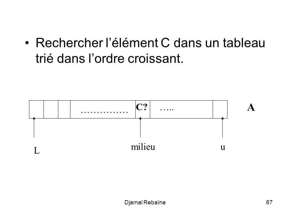Djamal Rebaïne68 void recherche(C,L,u:entier; trouve:booleen) { trouve = faux; si (u <= L) et (non trouve) { milieu = (u - L + 1) div 2; si A[milieu] = C trouve = vrai; sinon si A[milieu] > C recherche(C,L,milieu-1); sinon recherche(C,milieu+1,u); }
