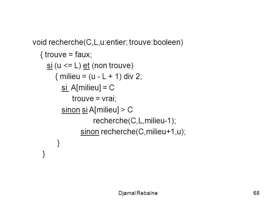 Djamal Rebaïne69 TITLE dichotomique PILE segment stack dw 100 dup(?) Basdepile equ this word PILE ends Data segment tableau db 100 dup(?) Valeur db .