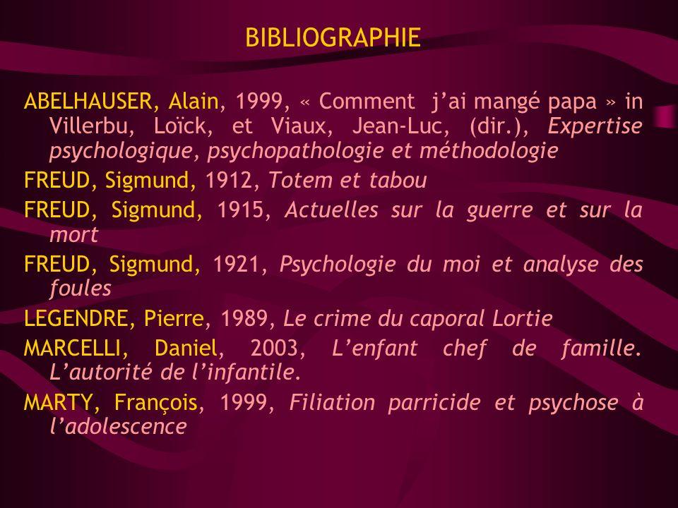 BIBLIOGRAPHIE ABELHAUSER, Alain, 1999, « Comment jai mangé papa » in Villerbu, Loïck, et Viaux, Jean-Luc, (dir.), Expertise psychologique, psychopatho