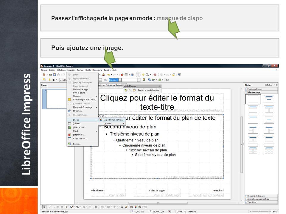 Puis ajoutez une image. LibreOffice Impress Passez laffichage de la page en mode : masque de diapo
