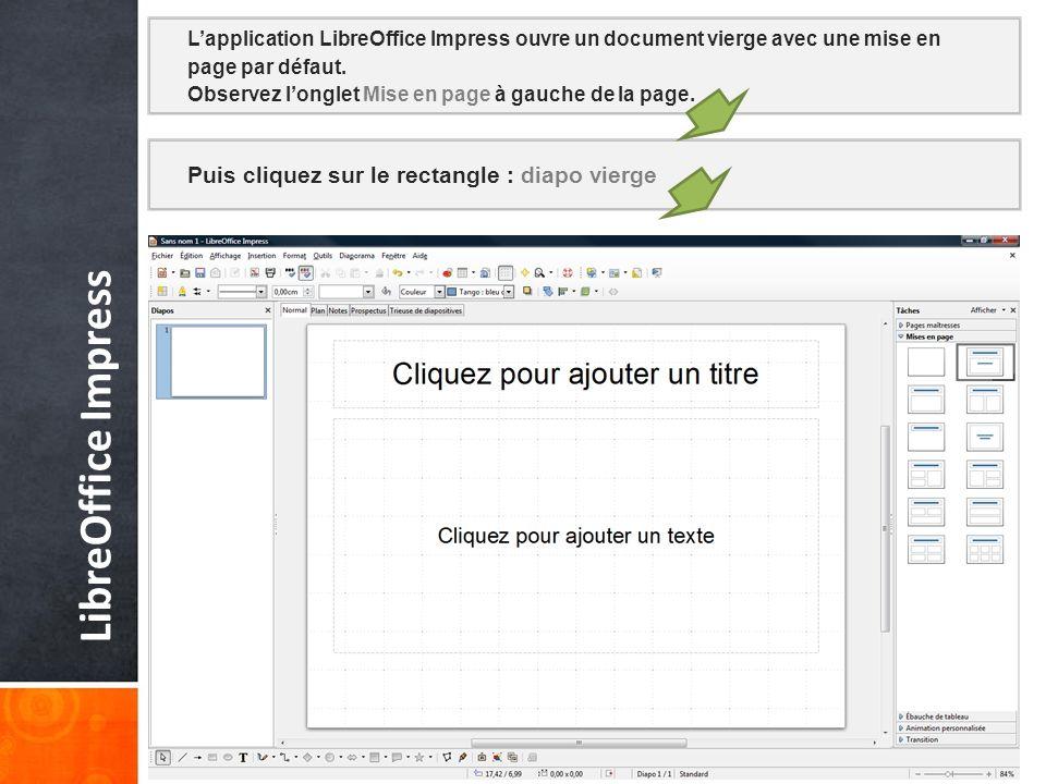Puis cliquez sur le rectangle : diapo vierge LibreOffice Impress Lapplication LibreOffice Impress ouvre un document vierge avec une mise en page par défaut.