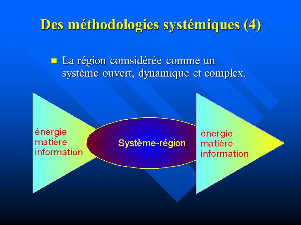 Des méthodologies systémiques (3) Sont construit des modèles, pour faire de la simulation des situations futures, prospectives, ce qui nous a permis de mieux comprendre la dynamique de ce que nous appelons le « Système- Région ».