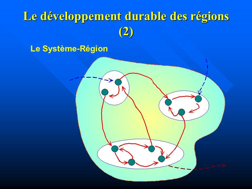 Le développement durable des régions (1) Dans ce travail, la région est considérée comme un « Tout », un système fonctionnel qui est formé dans la dualité spatio-temporelle, où se place la vie et lévolution de tous les êtres vivants, y compris les humains, Dans ce travail, la région est considérée comme un « Tout », un système fonctionnel qui est formé dans la dualité spatio-temporelle, où se place la vie et lévolution de tous les êtres vivants, y compris les humains, dont les ressources naturelles, telles que leau, sont indispensables pour le développement durable de la région, où une des conditions indispensables est la qualité de vie des habitants.