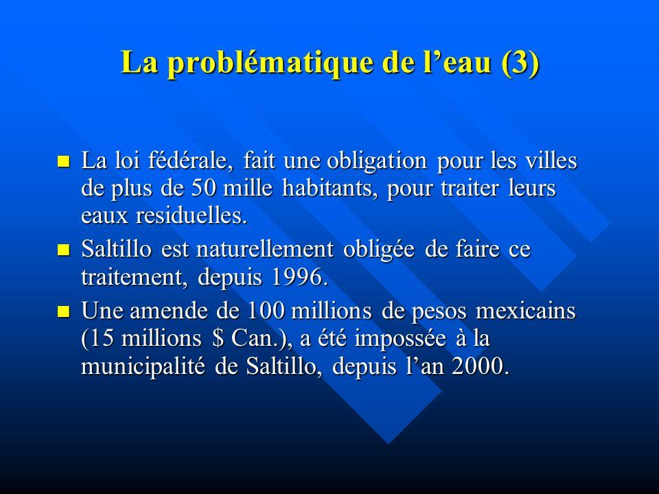 La problématique de leau (2) Les politiques gouvernementales se sont orientées, particulièrement, vers lindustrialisation, notament automobile. Les po