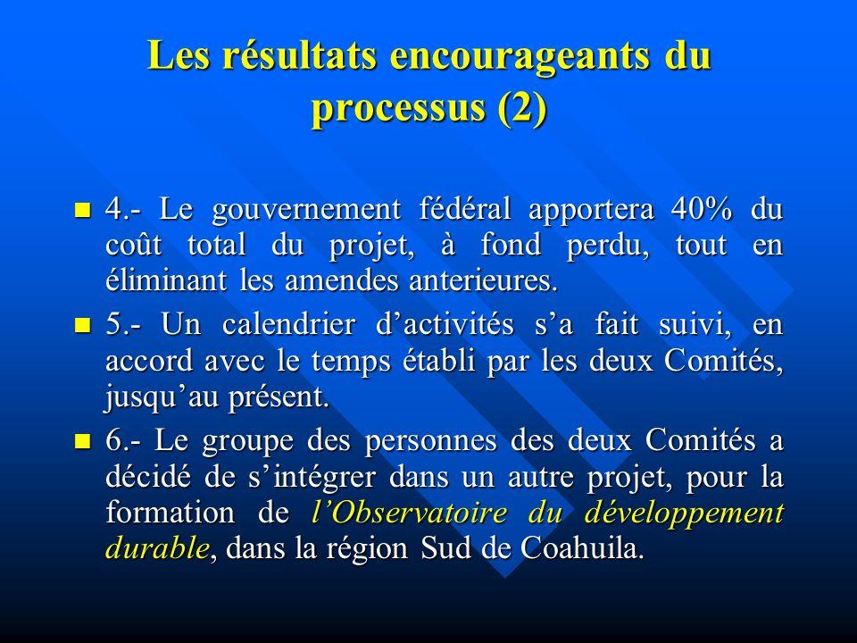 Les résultats encourageants du processus (1) 1.- La communauté, à 97,3%, regarde le processus de participation citoyenne comme dimportance. 1.- La com