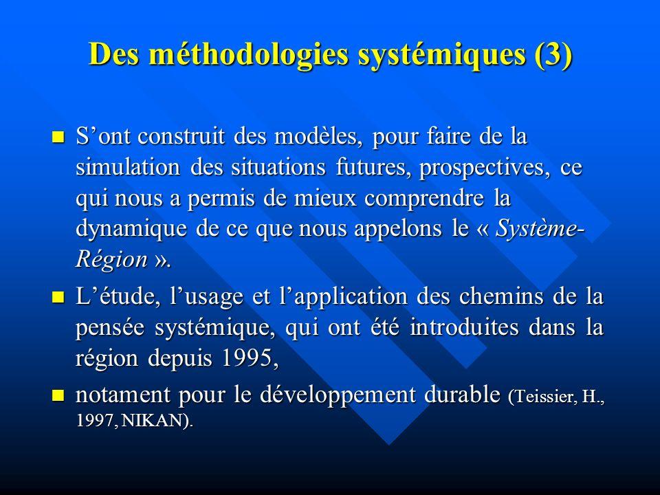 Des méthodologies systémiques (2) Parmi elles: la construction de scénarios, la conception de modèles et de une vision partagée, sont vues très utiles