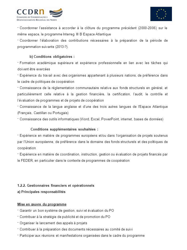 Coordonner lassistance à accorder à la clôture du programme précédent (2000-2006) sur le même espace, le programme Interreg III B Espace Atlantique Coordonner l élaboration des contributions nécessaires à la préparation de la période de programmation suivante (2013-?).