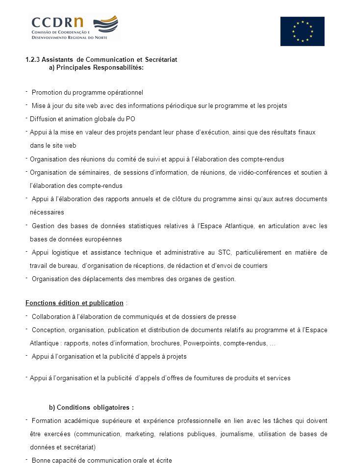 1.2.3 Assistants de Communication et Secrétariat a) Principales Responsabilités: Promotion du programme opérationnel Mise à jour du site web avec des