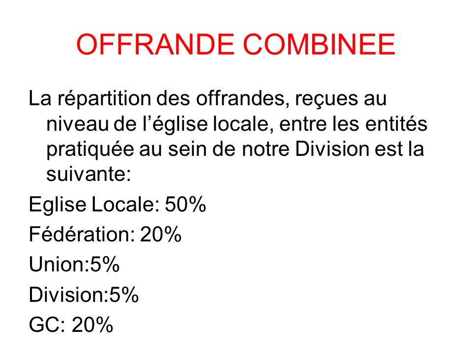 OFFRANDE COMBINEE La répartition des offrandes, reçues au niveau de léglise locale, entre les entités pratiquée au sein de notre Division est la suiva