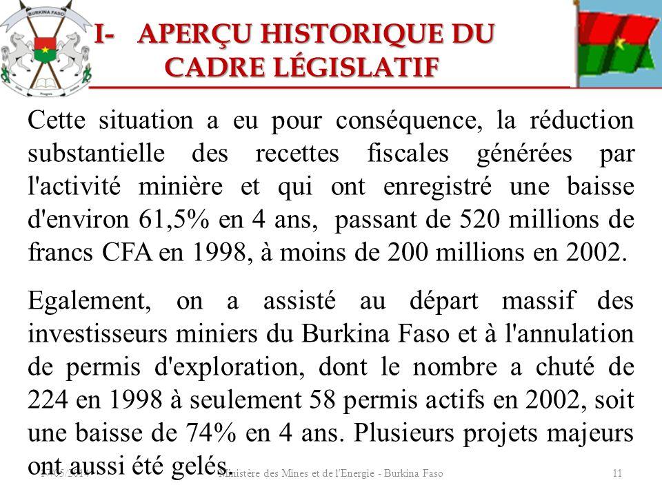17/05/2014Ministère des Mines et de l'Energie - Burkina Faso11 Cette situation a eu pour conséquence, la réduction substantielle des recettes fiscales