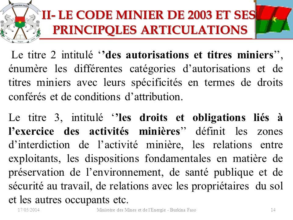 17/05/2014Ministère des Mines et de l'Energie - Burkina Faso14 II- LE CODE MINIER DE 2003 ET SES II- LE CODE MINIER DE 2003 ET SES PRINCIPQLES ARTICUL