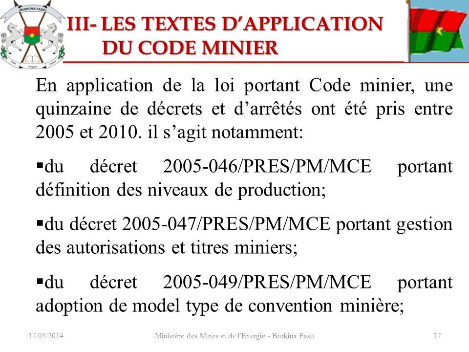 17/05/2014Ministère des Mines et de l'Energie - Burkina Faso17 III- LES TEXTES DAPPLICATION III- LES TEXTES DAPPLICATION DU CODE MINIER DU CODE MINIER