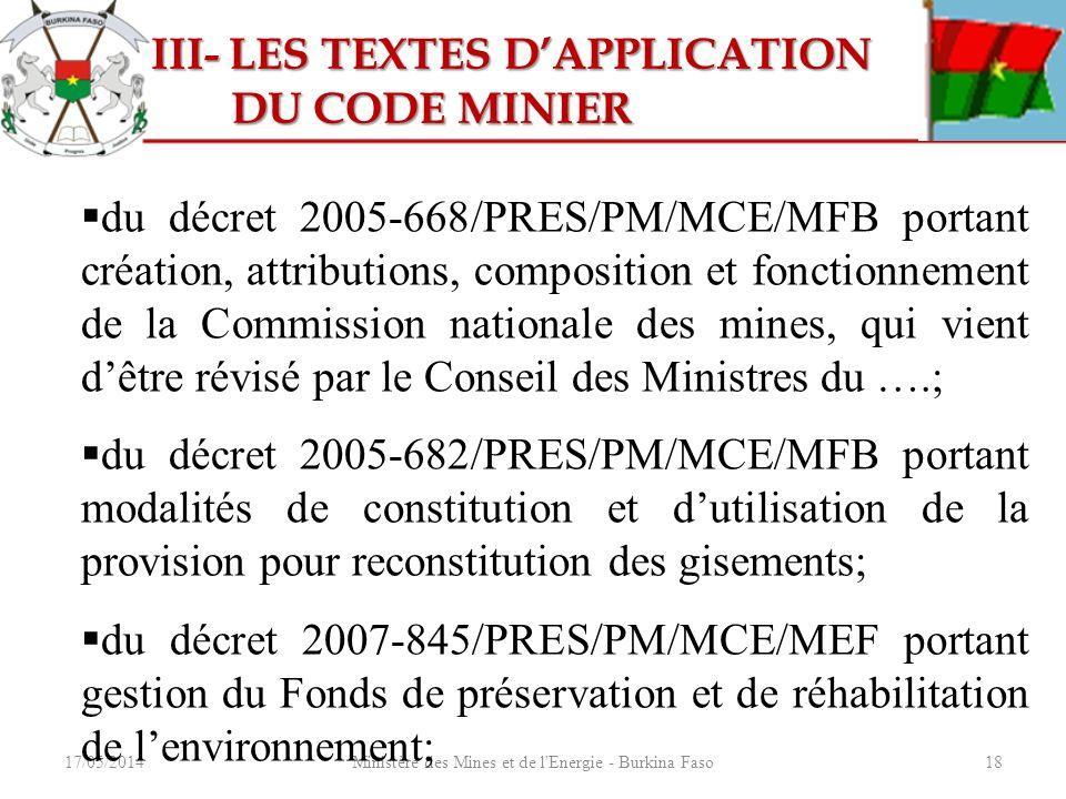 17/05/2014Ministère des Mines et de l'Energie - Burkina Faso18 III- LES TEXTES DAPPLICATION III- LES TEXTES DAPPLICATION DU CODE MINIER DU CODE MINIER