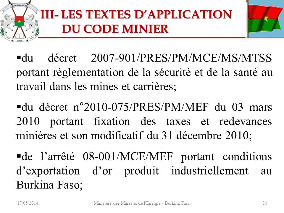 17/05/2014Ministère des Mines et de l'Energie - Burkina Faso20 III- LES TEXTES DAPPLICATION III- LES TEXTES DAPPLICATION DU CODE MINIER DU CODE MINIER