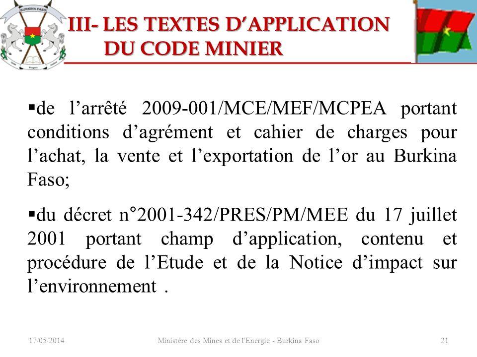 17/05/2014Ministère des Mines et de l'Energie - Burkina Faso21 III- LES TEXTES DAPPLICATION III- LES TEXTES DAPPLICATION DU CODE MINIER DU CODE MINIER