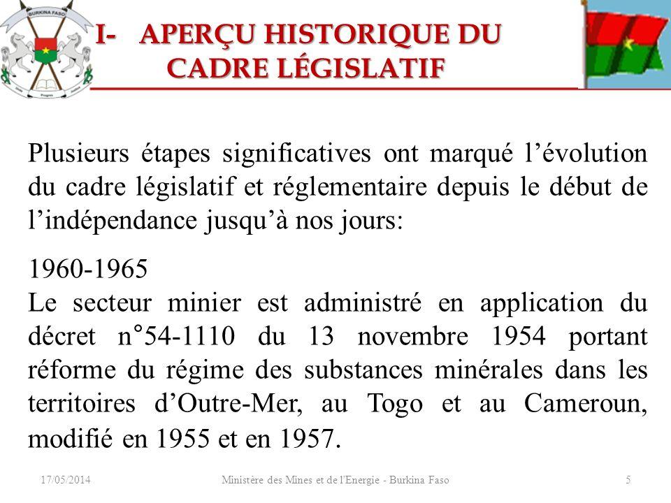 Ministère des Mines et de l'Energie - Burkina Faso5 Plusieurs étapes significatives ont marqué lévolution du cadre législatif et réglementaire depuis