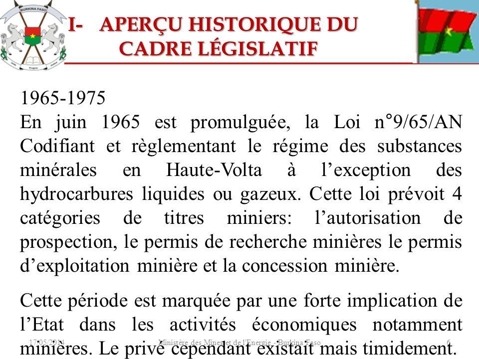 17/05/2014Ministère des Mines et de l'Energie - Burkina Faso6 1965-1975 En juin 1965 est promulguée, la Loi n°9/65/AN Codifiant et règlementant le rég