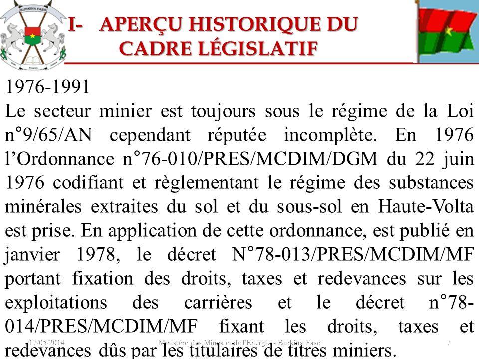17/05/2014Ministère des Mines et de l'Energie - Burkina Faso7 1976-1991 Le secteur minier est toujours sous le régime de la Loi n°9/65/AN cependant ré