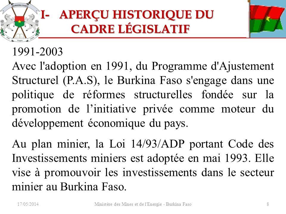 17/05/2014Ministère des Mines et de l'Energie - Burkina Faso8 1991-2003 Avec l'adoption en 1991, du Programme d'Ajustement Structurel (P.A.S), le Burk