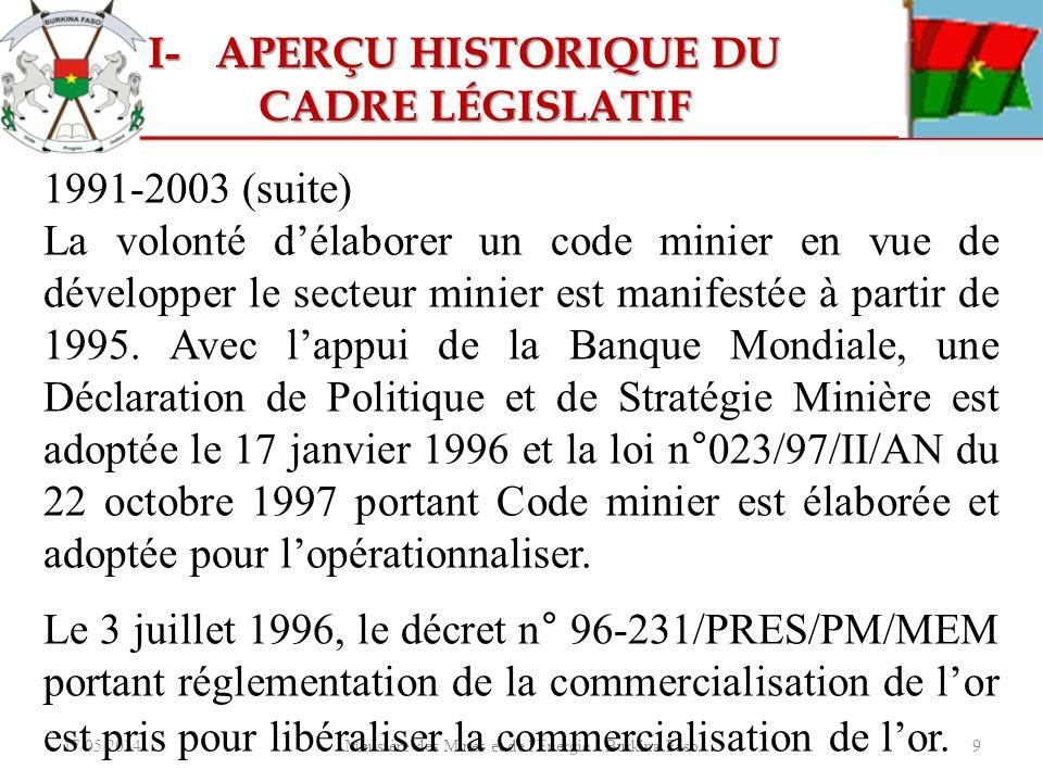 17/05/2014Ministère des Mines et de l'Energie - Burkina Faso9 1991-2003 (suite) La volonté délaborer un code minier en vue de développer le secteur mi