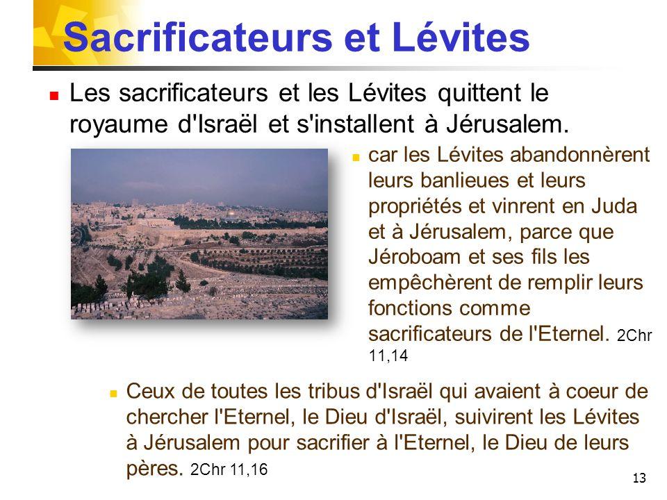 13 Sacrificateurs et Lévites Les sacrificateurs et les Lévites quittent le royaume d'Israël et s'installent à Jérusalem. car les Lévites abandonnèrent