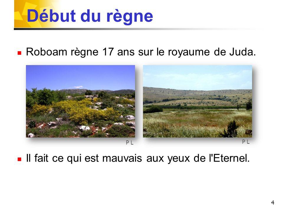 4 Début du règne Roboam règne 17 ans sur le royaume de Juda. Il fait ce qui est mauvais aux yeux de l'Eternel. P L
