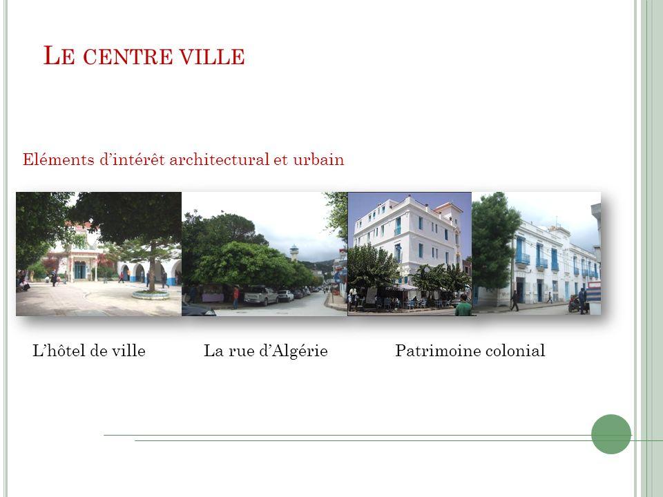L E CENTRE VILLE Eléments dintérêt architectural et urbain Lhôtel de villeLa rue dAlgériePatrimoine colonial