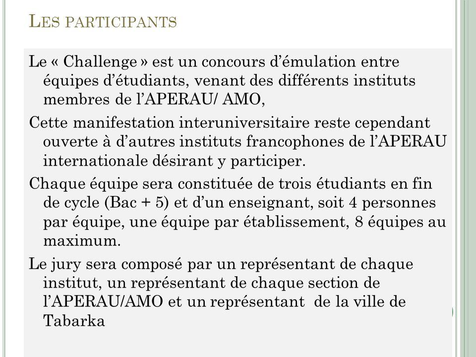 L ES PARTICIPANTS Le « Challenge » est un concours démulation entre équipes détudiants, venant des différents instituts membres de lAPERAU/ AMO, Cette