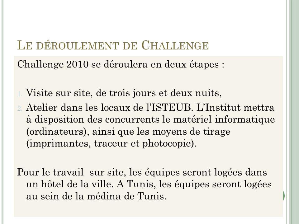 L E DÉROULEMENT DE C HALLENGE Challenge 2010 se déroulera en deux étapes : 1. Visite sur site, de trois jours et deux nuits, 2. Atelier dans les locau